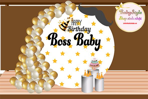 Gói trang trí sinh nhật cho bé trai Gold 02