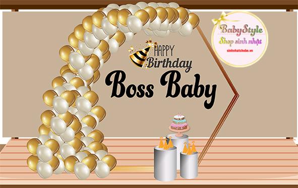 Gói trang trí sinh nhật cho bé trai gói Gold 03