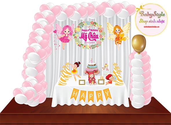 Sét trang trí sinh nhật cho bé gái gói Silver 03