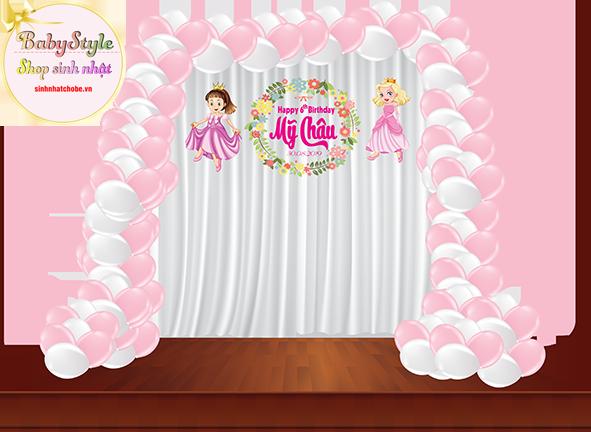 Trang trí sinh nhật cho bé gái gói Mini Combo với bóng viền chữ U