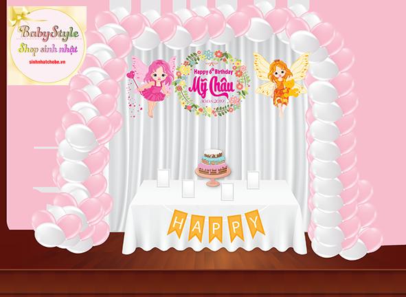 Sét trang trí sinh nhật cho bé gái với kết bóng chữ L