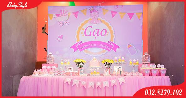 Trang trí sinh nhật cho bé gái tên Gạo