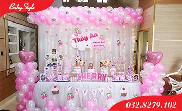 Mẫu trang trí sinh nhật chủ đề quả Cherry.