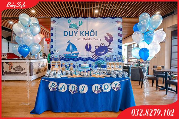 Thi công tiệc được trang trí sinh nhật chủ đề biển cả