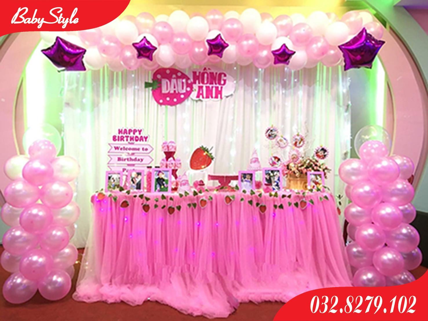 Trang trí sinh nhật chủ đề dâu tây