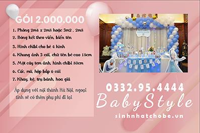 Mẫu trang trí sinh nhật cho bé chủ đề Elsa gói 2.000.000