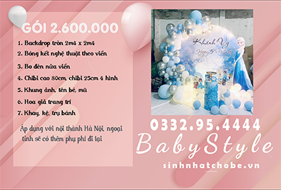 Mẫu trang trí sinh nhật cho bé chủ đề Elsa gói 2.600.000