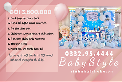 Mẫu trang trí sinh nhật cho bé chủ đề Elsa gói 3.800.000