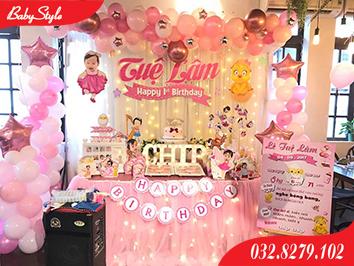 Mẫu trang trí sinh nhật chủ đề gà hồng số 1