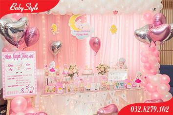 Mẫu trang trí sinh nhật chủ đề gà hồng số 3