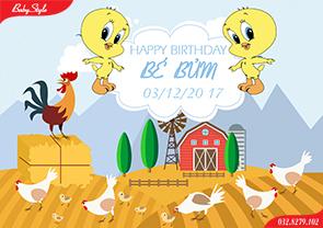 Thiết kế backdrop sinh nhật chủ đề gà con