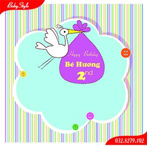 Thiết kế phông sinh nhật cho bé Hương
