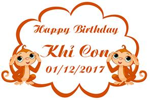 Biển tên trang trí sinh nhật cho bé Khỉ Con