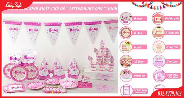 Bộ phụ kiện sinh nhật chủ đề Baby Girl dành cho bé gái