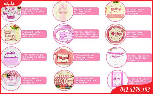 Trọn bộ phụ kiện sinh nhật cho bé Baby Girl