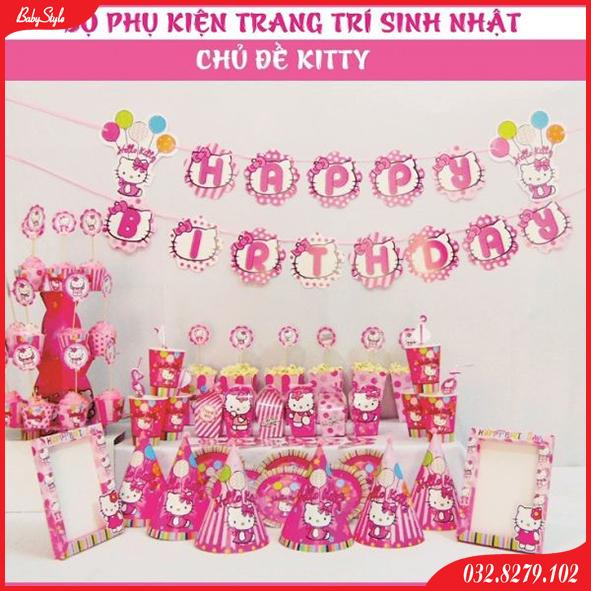 Set trang trí sinh nhật cho bé chủ đề Mèo Kitty