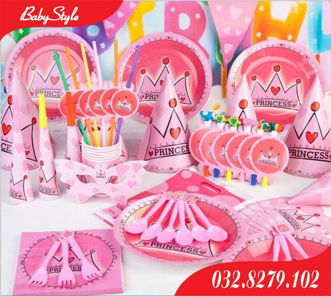 Sét phụ kiện trang trí sinh nhật cho bé gái chủ đề Princess