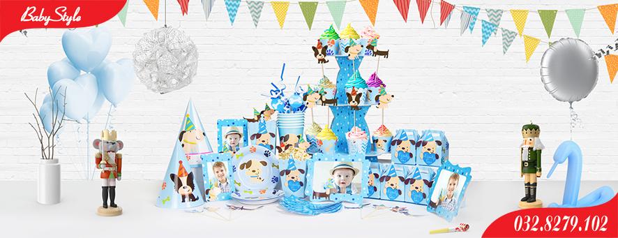 Bộ phụ kiện sinh nhật chủ đề chó xanh
