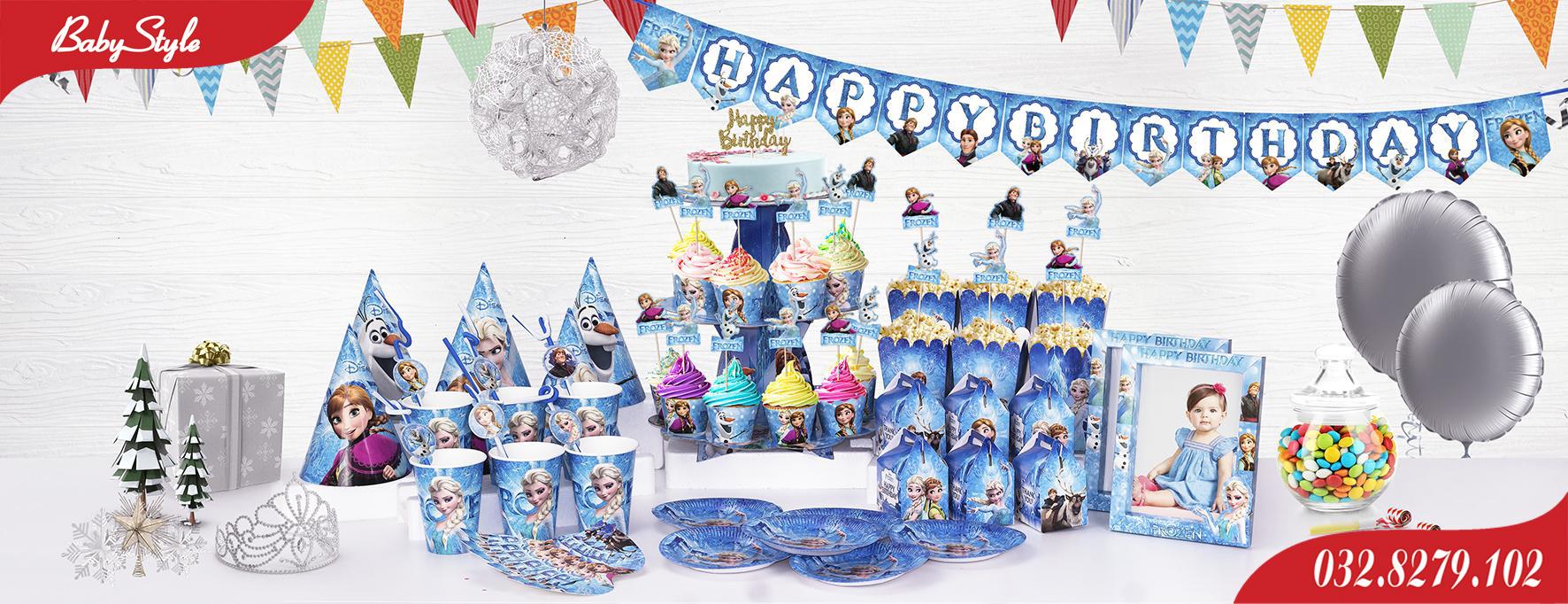 Bộ phụ kiện sinh nhật chủ đề công chúa Elsa