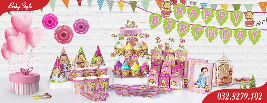 Bộ phụ kiện sinh nhật Khỉ Hồng