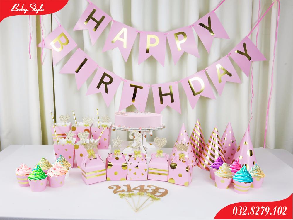 Bộ phụ kiện trang trí sinh nhật màu hồng cho người lớn