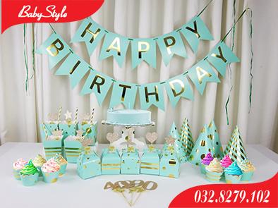 Bộ phụ kiện sinh nhật màu xanh nhũ vàng