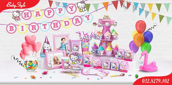 Bộ phụ kiện sinh nhật chủ đề Hello Kitty