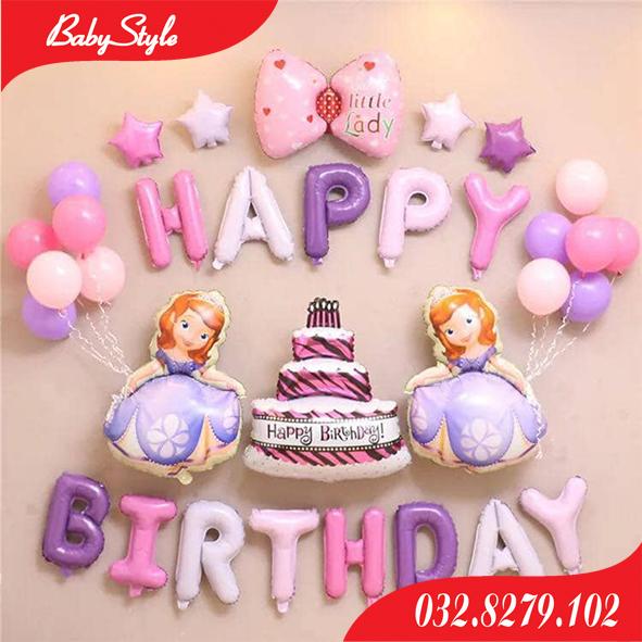 Set bóng trang trí sinh nhật hình công chúa Sofia.