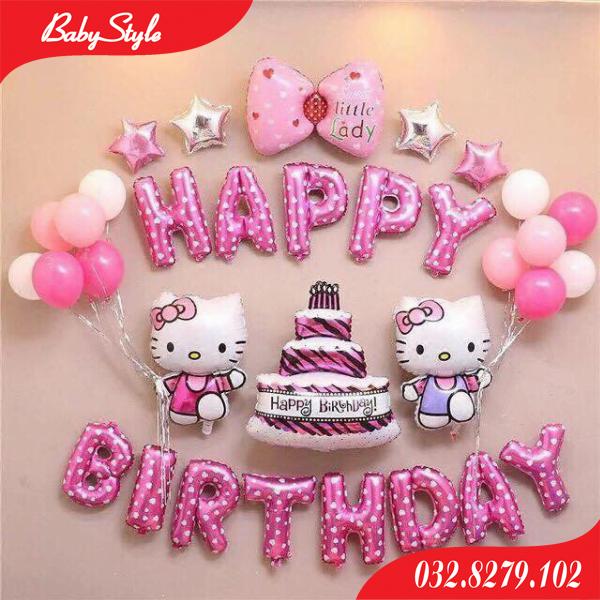 Set bóng trang trí ính nhật Hello Kitty