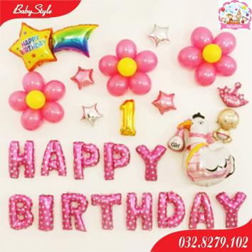 Bộ bóng sinh nhật gà hồng 1 tuổi