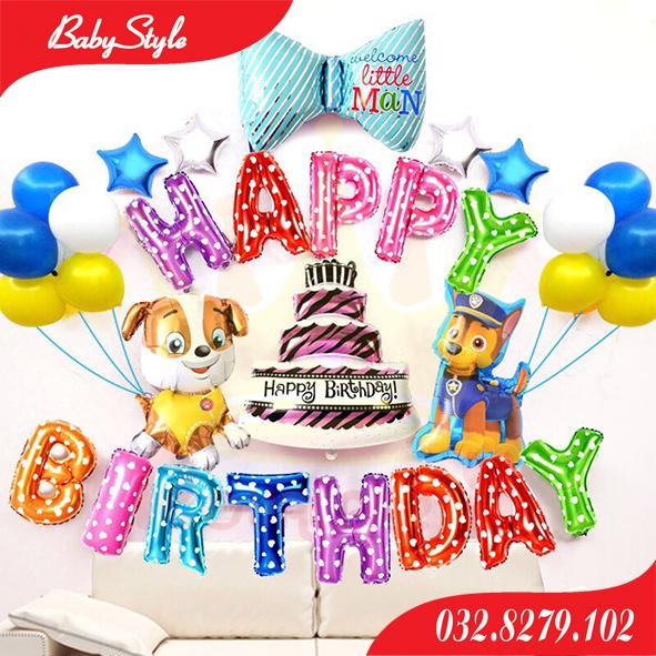 Set bóng bay trang trí sinh nhật chủ đề chó