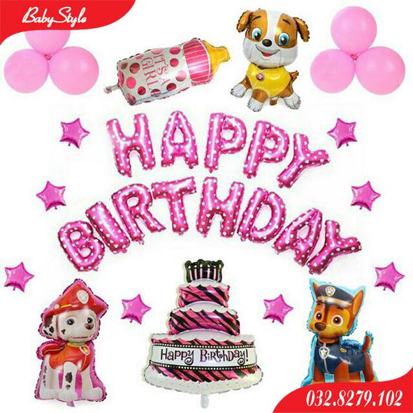 Sét bóng sinh nhật cho bé gái tuổi chó