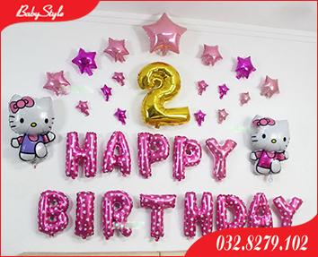 Set bóng trang trí sinh nhật mèo Kitty cho bé gái 2 tuổi
