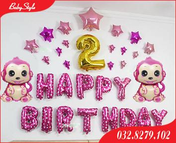 Bộ bóng trang trí sinh nhật 2 tuổi cho các bé gái tuổi Khỉ