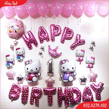 Bộ bóng sinh nhật 1 tuổi bé gái chủ đề Hello Kitty