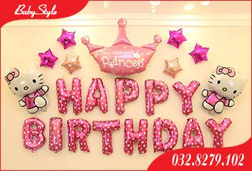 Set bóng sinh nhật bé gái chủ đề Hello Kitty