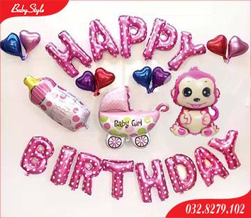 Bộ bóng trang trí sinh nhật cho bé gái chủ đề Khỉ Hồng