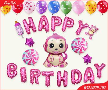 Set bóng trang trí sinh nhật cho bé gái tuổi khỉ