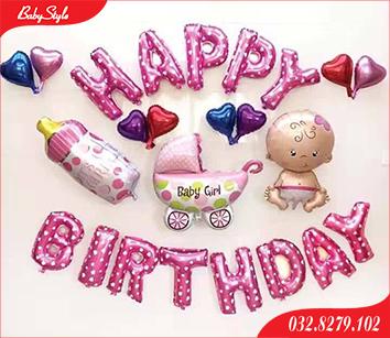 Set bóng trang trí sinh nhật cho bé gái