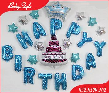 Set bóng trang trí sinh nhật cho bé hình chiếc bánh gato