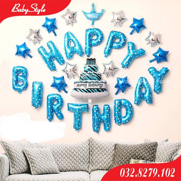 Set bóng sinh nhật hình bánh gato xanh