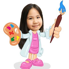 Mẫu hình chibi bé gái chủ đề họa sĩ