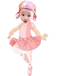 Chibi bé gái chủ đề diễn viên múa