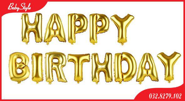 Bóng chữ Happy Birthday màu vàng