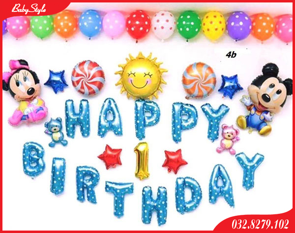 Trang trí sinh nhật với bóng chữ Happy Birth Day