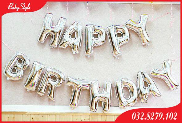 Bóng chữ Happy Birthday màu bạc