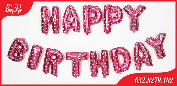 Bóng chữ Happy Birthday màu hồng