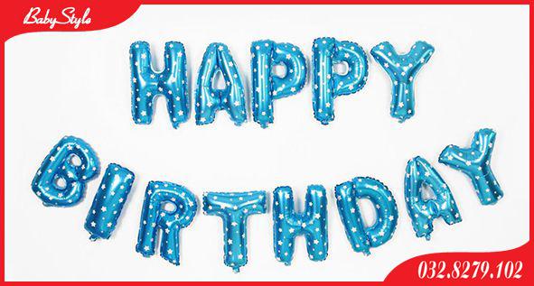 Bóng chữ Happy Birthday màu xanh