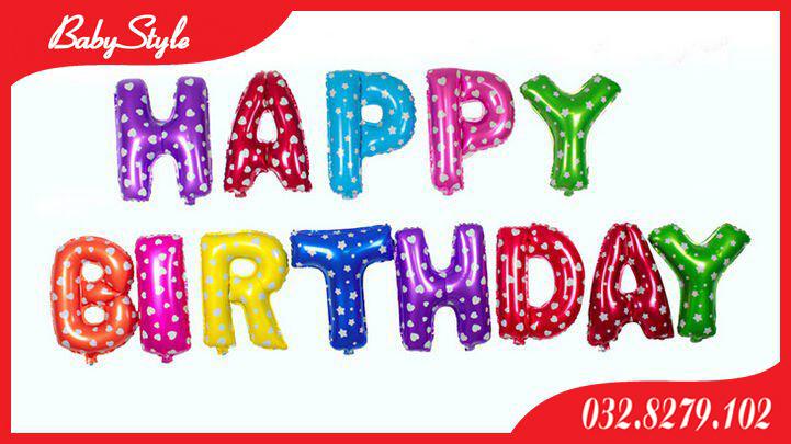 Bóng chữ Happy Birthday nhiều màu