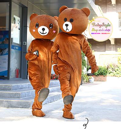 Hình ảnh cặp đôi mascot Brown vô cùng đáng yêu và bảng báo giá chi tiết